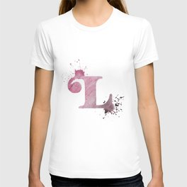 """""""L"""" Watercolour Letter Typography Illustration Hand Made Initial T-shirt"""
