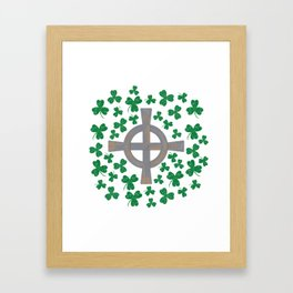 Celtic cross and Shamrock. St.Patrick's Day Framed Art Print