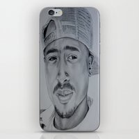 tupac iPhone & iPod Skins featuring Tupac  by Brooke Shane