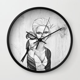 melancholy girl with parrot and feathers Wall Clock