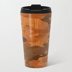 Modern Woodgrain Camouflage / Woodland Print Metal Travel Mug