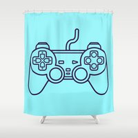 playstation Shower Curtains featuring Playstation 1 Controller - Retro Style! by Rikard Röhr