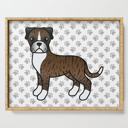 Cute Brindle Boxer Dog Cartoon Illustration Serving Tray