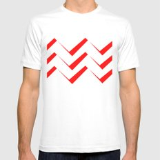 Geometric abstract - zigzag red and white. White Mens Fitted Tee MEDIUM