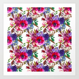 Bright Pink, Purple and Lavender Floral Arrangement with Feathers on Soft White Art Print