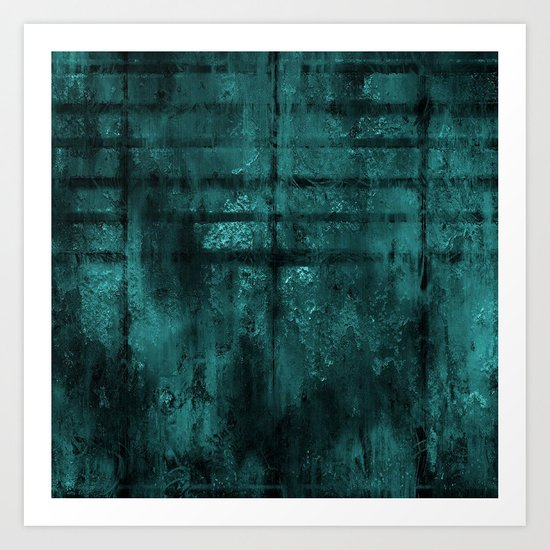 Turquoise Lined Rusted Metal Look Art Print