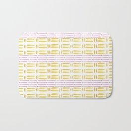 Geometrical watercolor pink yellow brushstrokes stripes Bath Mat