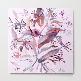 "Hand painted watercolor art ""Botanical Illusion"" Metal Print"