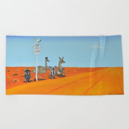 Aussie Outback Bus Stop Beach Towel