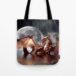 Mystical Dragon and Moon Fantasy Design Tote Bag