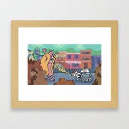 Hot Dog Attack! Framed Art Print