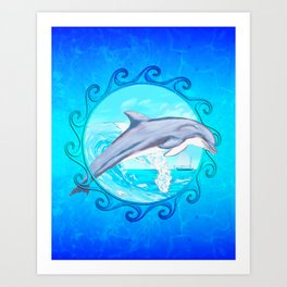 Dolphin Maori Sun Art Print
