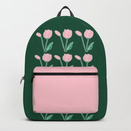 Tulips Pattern in Light Pink and Dark Green Backpack