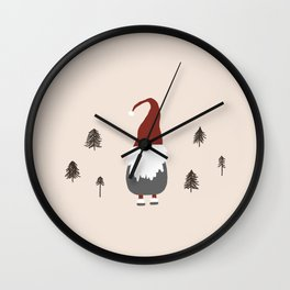 Whimsical Santa in the Woods Wall Clock