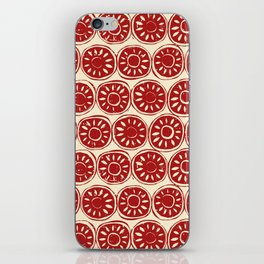 flower block red ivory iPhone Skin