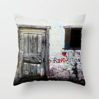 revolution Throw Pillows featuring rEVOLution by Bärdie D/Sign