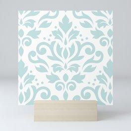 Scroll Damask Lg Pattern Duck Egg Blue on White Mini Art Print