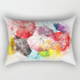 Umbrella Watercolor Rectangular Pillow