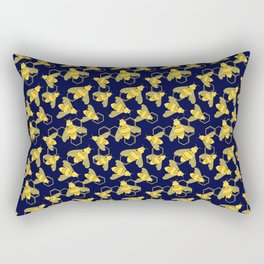 Golden Bees with Floral details on the wings and HoneyComb background Rectangular Pillow