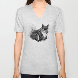 Squirrel drawing Unisex V-Neck