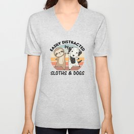 Easily Distracted By Sloths And Dogs Dalmatians Unisex V-Neck