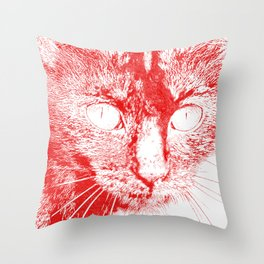 Fluffy's eyes drawing, red Throw Pillow