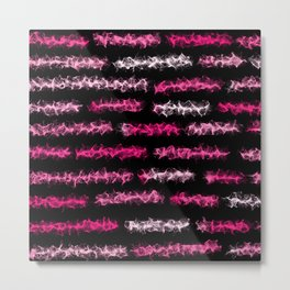 Pink Chalk Lines - Black Metal Print