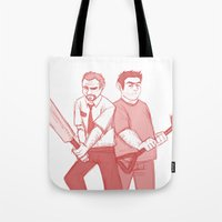 shaun of the dead Tote Bags featuring shaun of the dead by Marie Mikolay
