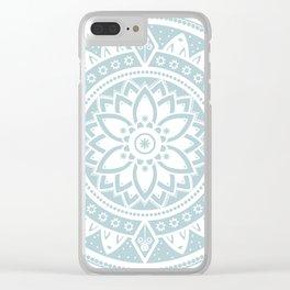 Duck Egg Blue & White Patterned Flower Mandala Clear iPhone Case