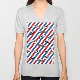 Barber Shop Pattern Unisex V-Neck