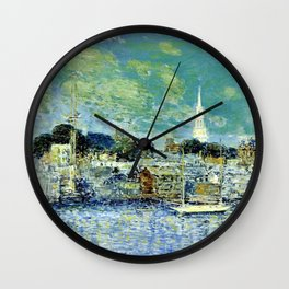 Classical Masterpiece 'Newport, Rhode Island Waterfront' by Frederick Childe Hassam Wall Clock