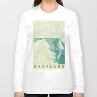 maryland Long Sleeve T-shirts featuring Maryland State Map Blue Vintage by City Art Posters