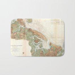 Vintage Map of Ipswich and Annisquam Harbor (1857) Bath Mat