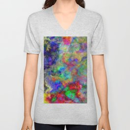 Abstract bright colorful watercolor brushstrokes pattern Unisex V-Neck