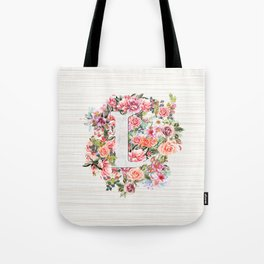 Initial Letter L Watercolor Flower Tote Bag
