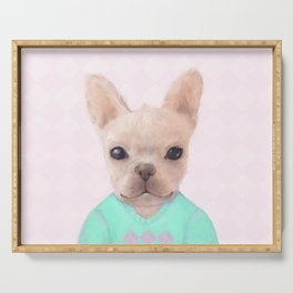 Portrait Of French Bull Dog Serving Tray