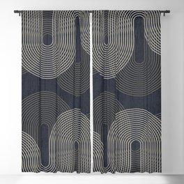 Mid Century Modern Arches Black White Blackout Curtain