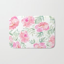 Watercolor Peonie with greenery Bath Mat
