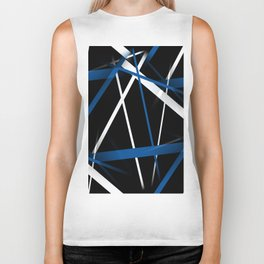 Seamless Blue and White Stripes on A Black Background Biker Tank