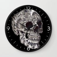 ornate Wall Clocks featuring Ornate Skull by BIOWORKZ