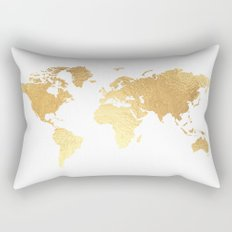 Textured Gold Map Rectangular Pillow