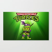 ninja turtle Canvas Prints featuring Ninja Turtle by flydesign