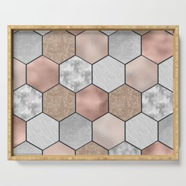 Marble hexagons and rose gold on black Serving Tray