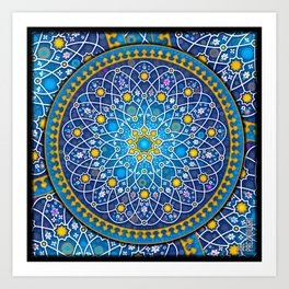 Blue geometry Art Print