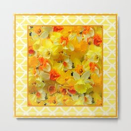 Decorative Yellow Spring Daffodils Collage Art Metal Print