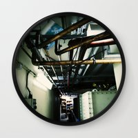 industrial Wall Clocks featuring Industrial by Nina Saunders