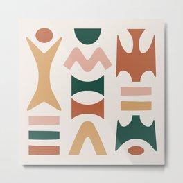 Funky Mid Century Modern Abstract figures 122 Metal Print