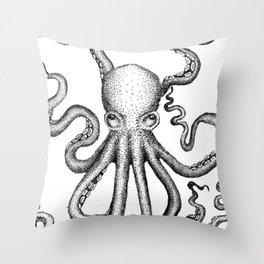Stippled Octopus  Throw Pillow