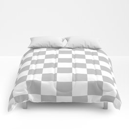 Checkered - White and Silver Gray Comforters