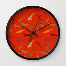 Koi carp. Brown orange yellow black outline on red background Wall Clock